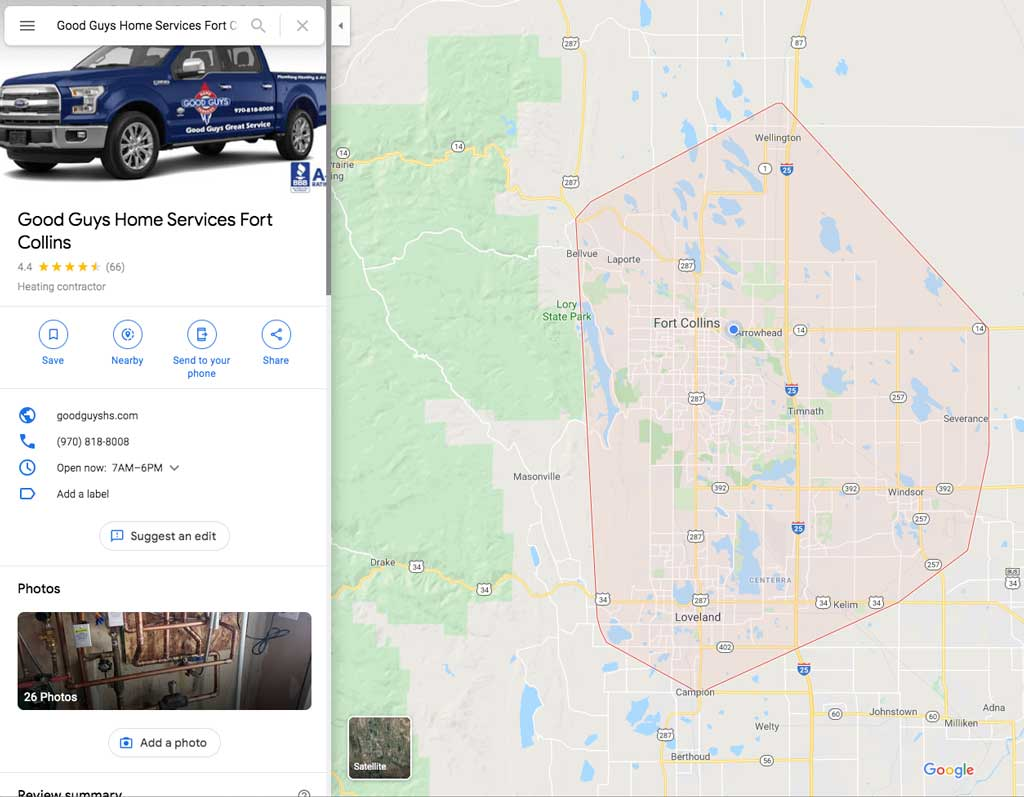 Good Guys Home Services Google My Business search on Google Maps