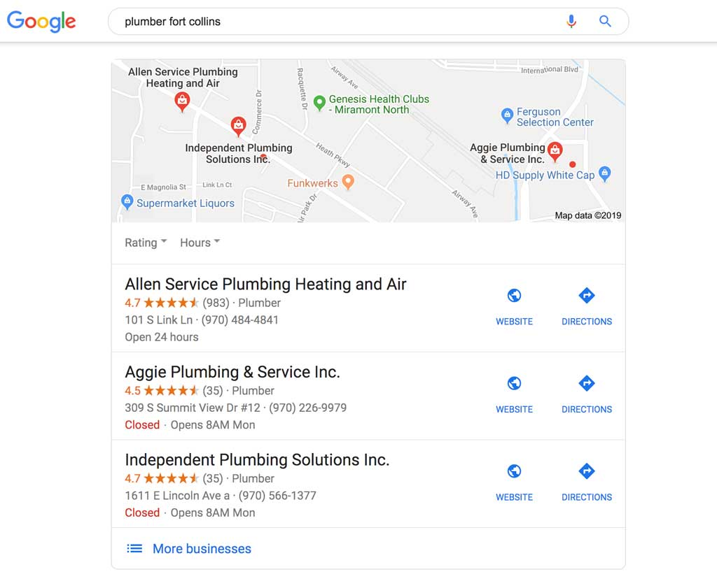 Local plumber in Fort Collins on Google Maps